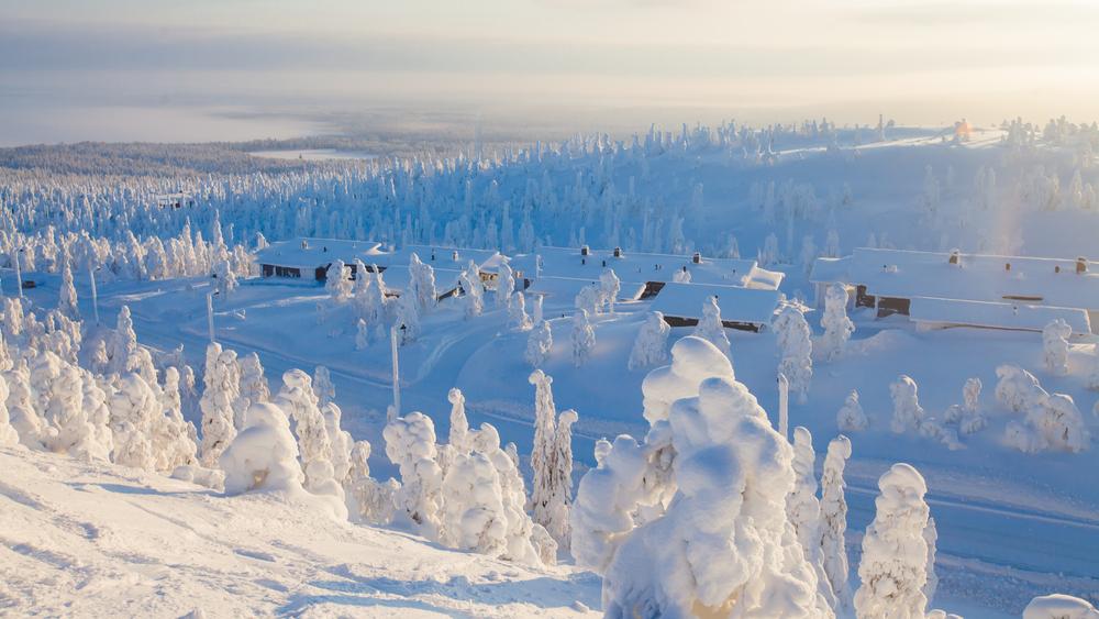 Zima w Finlandii w okolicach Kuusamo